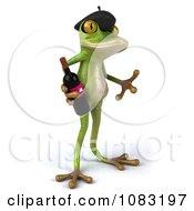 Clipart 3d French Springer Frog Holding Wine 2 Royalty Free CGI Illustration