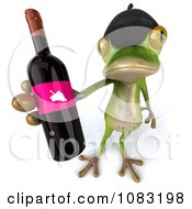 Clipart 3d French Springer Frog Holding Wine 3 Royalty Free CGI Illustration