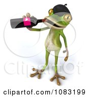 Clipart 3d French Springer Frog Drinking Wine Royalty Free CGI Illustration