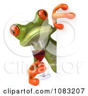 Clipart 3d Springer Frog Holding Red Wine By A Sign Royalty Free CGI Illustration