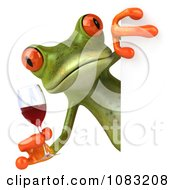 Clipart 3d Springer Frog Relaxing Holding Red Wine By A Sign 2 Royalty Free CGI Illustration