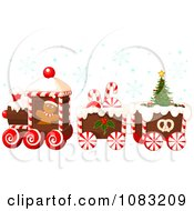 Clipart Christmas Gingerbread Train With Snow Royalty Free Vector Illustration by Pushkin
