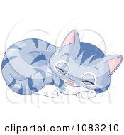 Clipart Cute Sleeping Purple Kitten Royalty Free Vector Illustration