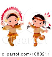 Clipart Dancing Thanksgiving Native American Girl And Boy Royalty Free Vector Illustration by Pushkin