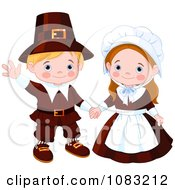 Clipart Cute Thanksgiving Pilgrims Royalty Free Vector Illustration