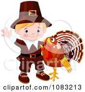 Clipart Cute Thanksgiving Turkey And Pilgrim Boy Royalty Free Vector Illustration by Pushkin