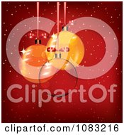 Clipart 3d Clear Glass And Orange Christmas Baubles Over Red With Snow Royalty Free Vector Illustration by MilsiArt