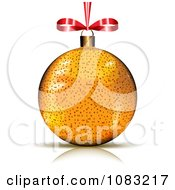 Clipart 3d Golden Christmas Bauble With A Red Bow Royalty Free Vector Illustration by MilsiArt