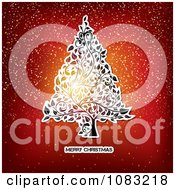 Clipart Merry Christmas Greeting Under A Floral Tree On Red With Snow Royalty Free Vector Illustration by MilsiArt
