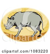 Clipart Retro Babirusa Pig Against A Sunset Oval Royalty Free Vector Illustration