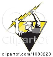 Clipart Retro Electrician Holding Up A Bolt On A Yellow Triangle Royalty Free Vector Illustration