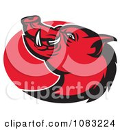 Clipart Retro Red Razorback Pig And Oval Royalty Free Vector Illustration