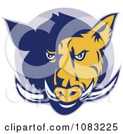 Clipart Retro Blue And Yellow Razorback Head And Tusks Royalty Free Vector Illustration