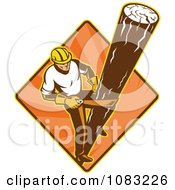Clipart Retro Powerline Technician Linesman Climing A Pole Royalty Free Vector Illustration by patrimonio