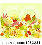 Clipart Background Of Autumn Leaves On Green Royalty Free Vector Illustration by Vector Tradition SM