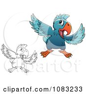 Clipart Outlined And Blue Parrots Gesturing To Check It Out Royalty Free Vector Illustration