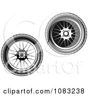 Clipart Black And White Wheels Royalty Free Vector Illustration