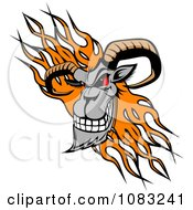 Evil Ram Head Over Orange Flames