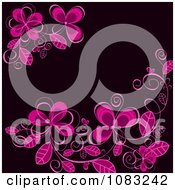 Clipart Pink Flowers On Black Royalty Free Vector Illustration