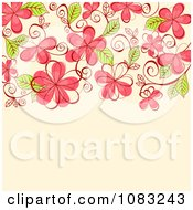 Clipart Pink Flowers On Beige Royalty Free Vector Illustration