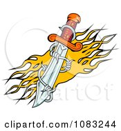 Clipart Dagger With Barbed Wire And Yellow Flames Royalty Free Vector Illustration