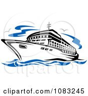 Clipart Seagulls And A Cruise Ship Royalty Free Vector Illustration