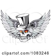 Clipart Winged Skull With Fiery Eyes And A Top Hat Royalty Free Vector Illustration by Vector Tradition SM