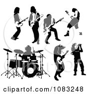 Clipart Black And White Rock And Roll Musicians Royalty Free Vector Illustration by Frisko #COLLC1083248-0114