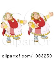 Clipart Chubby Roman Emperor Holding A Thumb Up And A Thumb Down Royalty Free Vector Illustration