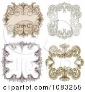 Clipart Ornate Vintage Frame Borders Royalty Free Vector Illustration
