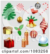 Clipart 3d Christmas Items On Gray Royalty Free Vector Illustration by vectorace
