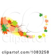 Autumn Maple Leaves Floating Off Of A Branch In A Breeze