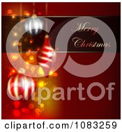 Clipart Merry Christmas Greeting With Baubles On Red Royalty Free Illustration by vectorace