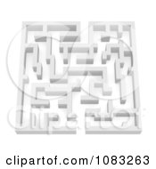 Clipart 3d White Complex Labrinth Maze Royalty Free CGI Illustration
