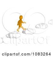 Clipart 3d Anaranjado Orange Man Walking On Cloud Steps Royalty Free CGI Illustration by Jiri Moucka #COLLC1083264-0122
