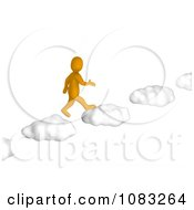 3d Anaranjado Orange Man Walking On Cloud Steps