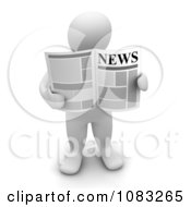 3d Blanco White Man Holding A Newspaper