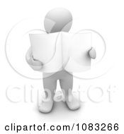 3d Blanco White Man Holding A Blank Newspaper