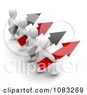 Clipart 3d Blanco White Men Leading With Arrows Royalty Free CGI Illustration