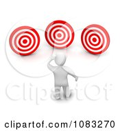 Clipart 3d Blanco White Man Staring At Targets Royalty Free CGI Illustration
