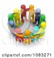Clipart 3d Colorful Group Of People Huddled Royalty Free CGI Illustration