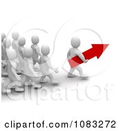 Clipart 3d Blanco White Man Leader Carrying An Arrow In Front Of His Team Royalty Free CGI Illustration