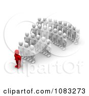 Clipart 3d Red Man Leader And White Followers Royalty Free CGI Illustration