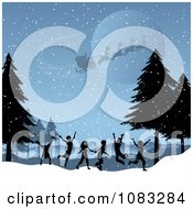 Clipart Santa Flying Above Silhouetted Kids Playing In A Winter Landscape Royalty Free Vector Illustration