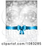 Clipart 3d Christmas Gift Bow And Silver Sparkle Background Royalty Free Vector Illustration
