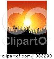 Clipart Silhouetted Crowd At A Music Concert Over Orange Royalty Free Vector Illustration