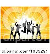 Clipart Silhouetted Dance Team Over Orange Rays And Grunge Royalty Free Vector Illustration