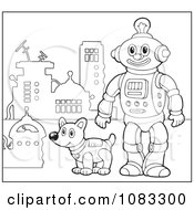 Clipart Outlined Robot And Dog By A Hydrant Royalty Free Vector Illustration
