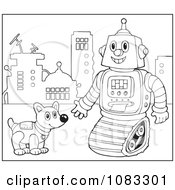 Clipart Outlined Robot And Dog Royalty Free Vector Illustration by visekart