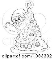 Clipart Outlined Santa Waving Behind A Christmas Tree Royalty Free Vector Illustration